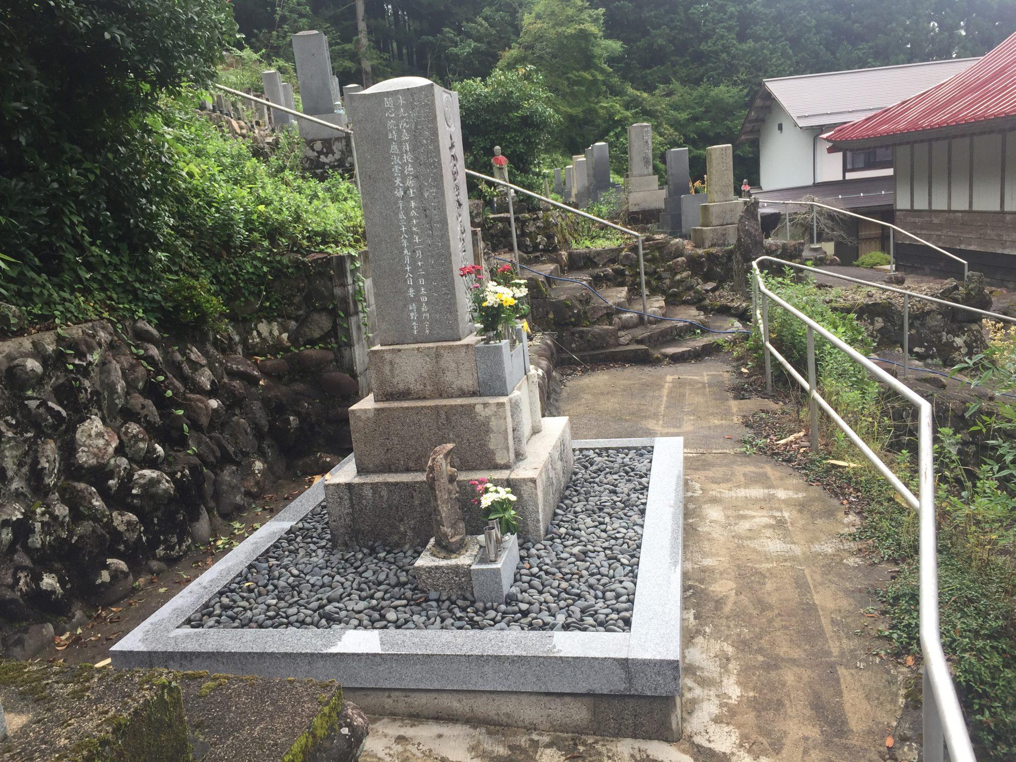 関市板取 墓石の追加文字彫と墓所のクリーニング工事